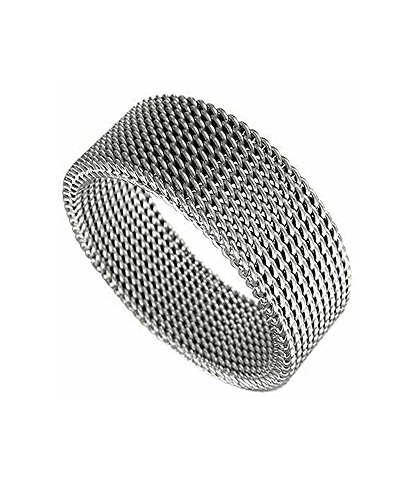 Mesh Net Flexible Stainless Steel Unisex 8mm Band Ring size 13 Heavy Mesh Ring