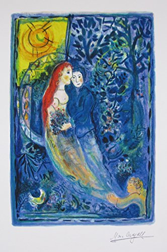 (Art by Marc Chagall Wedding Limited Edition Facsimile Signed Small Giclee Print. After the Original Painting or Drawing. Paper 15 Inches X 11 Inches)