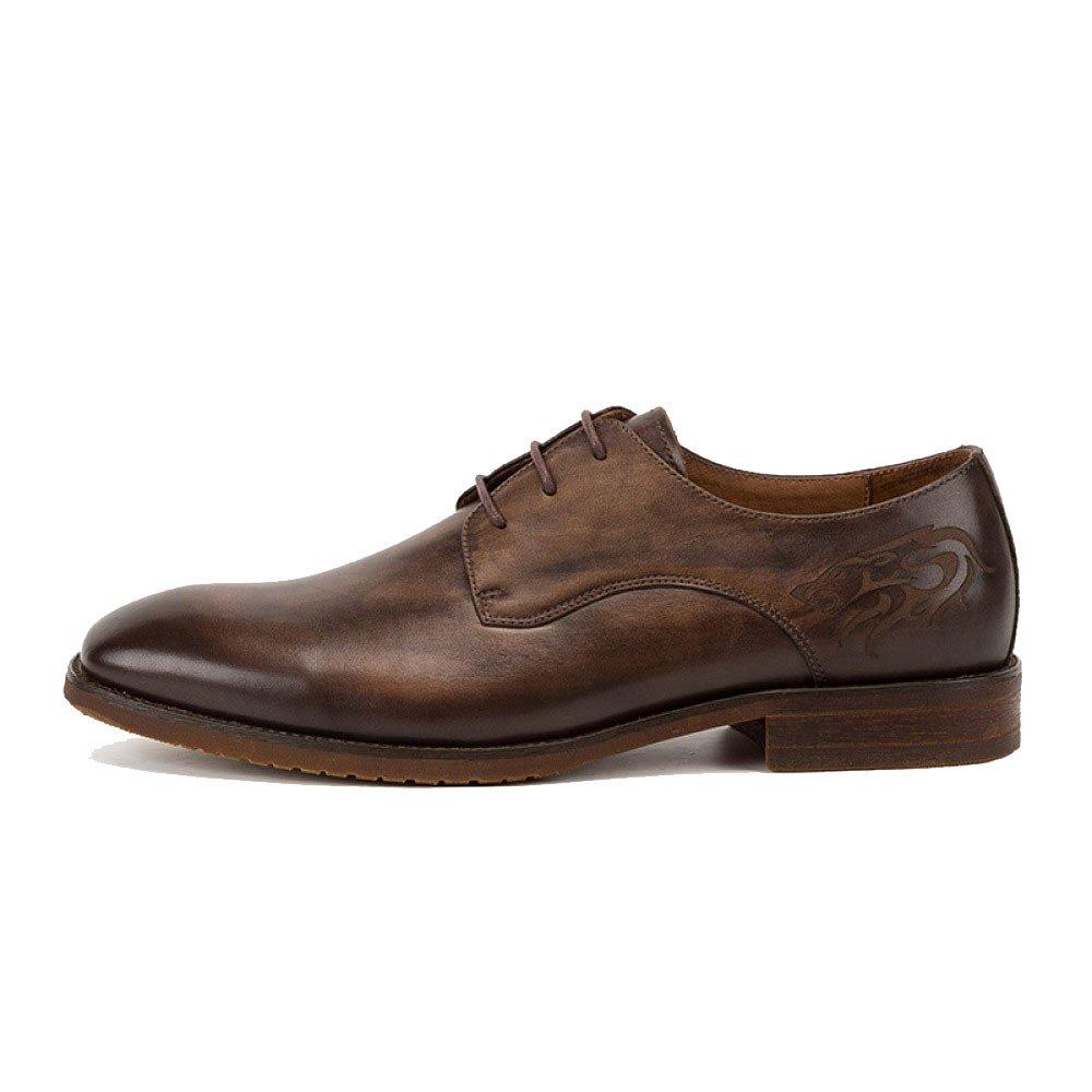 LYZGF Hombre Caballero Negocios Casual Moda Retro Boda Cordón Juventud Zapatos De Cuero 44 EU|Coffeecolor