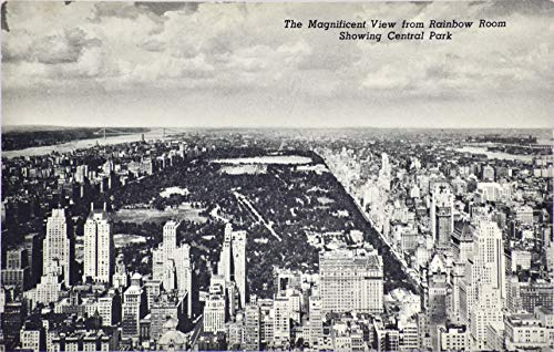 1950 - Rainbow Room at Rockefeller Center Vintage Post Card - B&W Photo Looking Over Central Park - 3.5 x 5.5 Inches - 2 Cent Stamp - Not Postmarked - Unused - Union News Co - Collectible - Rare