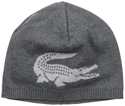 f072092eb Galleon - Lacoste Men s Big Crocodile Jacquard Reversible Wool Beanie