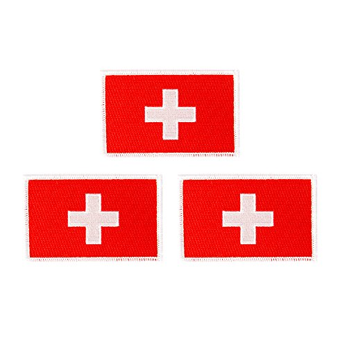 Switzerland Flag Patch Bulk 3-Pack 3.5Wx2.25H State Iron On Sew Embroidered Tactical Morale Back Pack Hat Bags Swiss (3-Pack Patch)