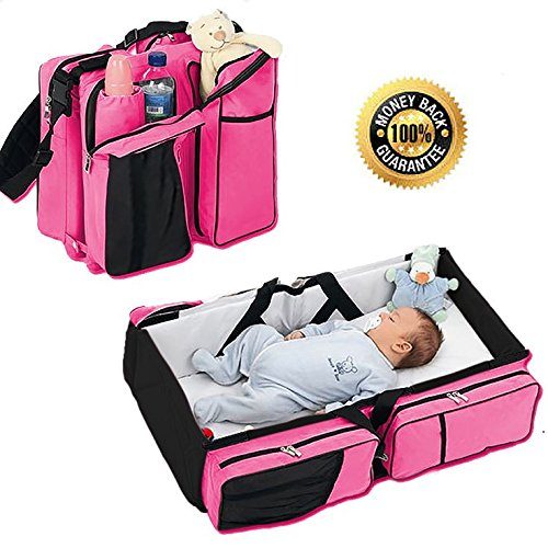 Boxum 3 in 1 Portable Bassinet Diaper Change Station, Pink