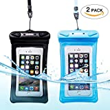 Universal Waterproof Phone Case of 2 Pack Set,Floating Pouch Night-Visible Smartphone Dry Bag for iPhone 8/8 Plus/X/7/7 Plus/6S/6/6S Plus/SE/5S/5,Galaxy S8/S8 Plus/Note 8 6 5, Pixel 2 up to 6.0'