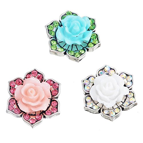 Souarts Fixed Mixed Flower Shaped Rhinestone DIY Snap Button Jewelry Charms 5.5mm Pack of 3pcs