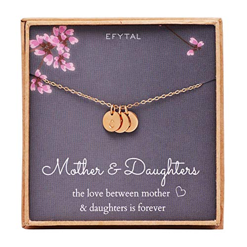 EFYTAL Mother 2 Daughters Three Initial Necklace for Mom, 3 Mini Gold Filled Alphabet Personalized Jewelry Gift ()