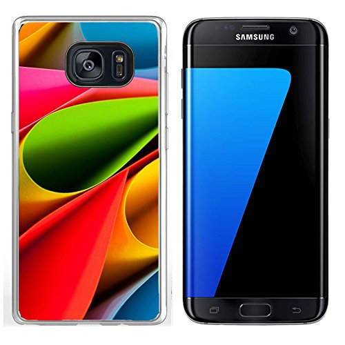 Luxlady Samsung Galaxy S7 Edge Clear case Soft TPU Rubber Silicone IMAGE ID: 23358506 Colorful card stock in unique elliptical shapes with shadow effect and selective focus on