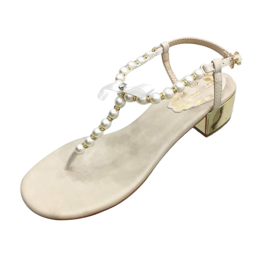 Fastbot Women's Summer Sandals Open Toe Casual Comfort Outdoor Hollow Beach Pearl Buckle Shoes Beige