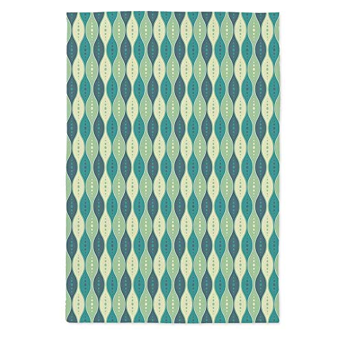 Abstract Fashionable Tablecloth,Oval Curved Vertical Lines with Classic Effects Dots Retro Graphic Decorative for Secretaire Square Table Office Table,70.1''W X 84''L