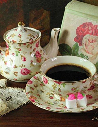 Chintz Tea Set - Tea Sets for One of Elizabeth Park Chintz Includes Teapot, Teacup and Saucer with Floral Print Design