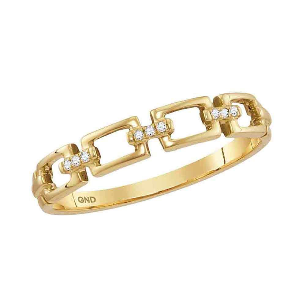 10K Yellow Gold Band Style Ring Chain Link Diamond Stackable Rings .03 CTW