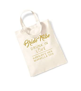 2181a1599899 Unisex Slogan Cotton Canvas Tote Bag - Bride Tribe - Drunk In Love -  Natural with