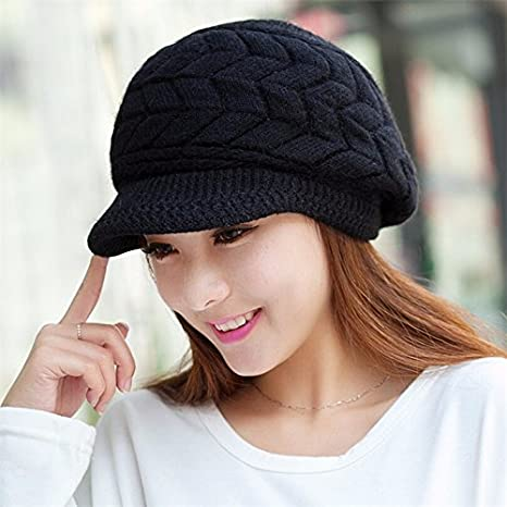 6392ad5a9347 Amazon.com   Fall Winter Beanies Knitted Hats Rabbit Fur Cap Snapback Cap  Ladies Female Fashion Skullies Elegant Women Hat (Black Color)   Everything  Else