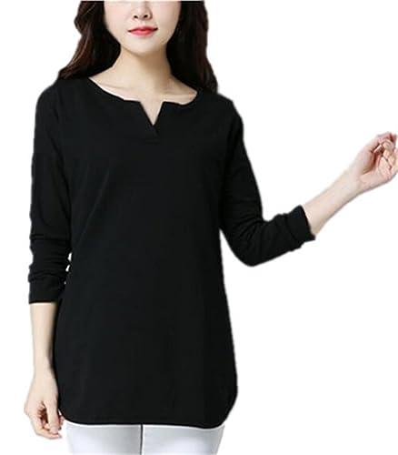 Gogofuture Camisetas Hipster Mujer Blusas Cmisetas Con Manga Larga De Color SÓLido Ocasional Camisa ...