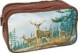 Buxton Men's Wildlife Double Zipper Utility Bag,Autumn Whitetail Deer,US