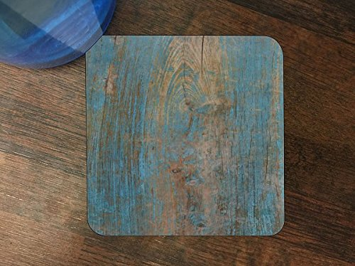 Wood with Blue on Wooden Old Vintage Background Silicone Drink Beverage Coaster 4 Pack by Moonlight Printing