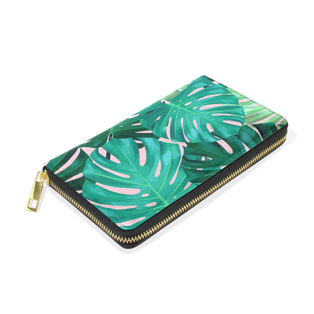 Womens Sunrise Wave Seaside Real Leather Zip Around Wallet Clutch Large Travel Purse