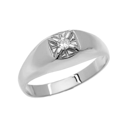 outlet c586c 98210 Diamante uomo oro bianco 14 ct anello da mignolo, Oro bianco ...