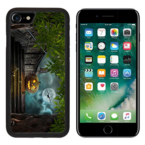 MSD Premium Apple iPhone 7 Aluminum Backplate Bumper Snap Case iPhone7 Halloween pumpkins in yard of of old stone staircase night in bright moonlight IMAGE 32612359