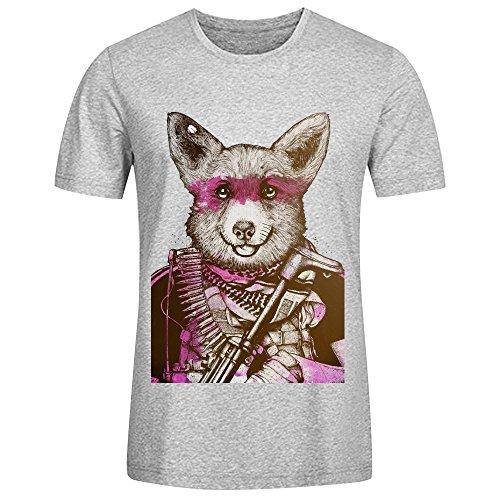 Badass Pets The Wild Corgi Men Round Collar T-Shirt Grey