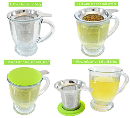 Best Loose Leaf Tea Infuser & Herbal Tea Steeper - Brews, Strains & Steeps Single Cup of Extra Fine Tea - Dishwasher Safe Silicone Top and Stainless Steel Tea Tumbler Basket & Infuser by Essential Home & Kitchen (Image #6)