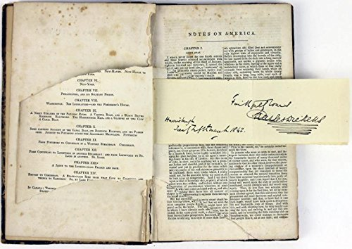 Charles Dickens American Notes Signed Book Very Rare Autograph #T02691 - PSA/DNA Certified -