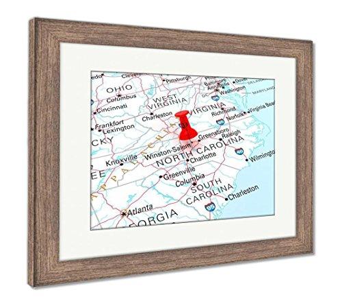 (Ashley Framed Prints North Carolina Map, Wall Art Home Decoration, Color, 26x30 (frame size), Rustic Barn Wood Frame, AG6112336)