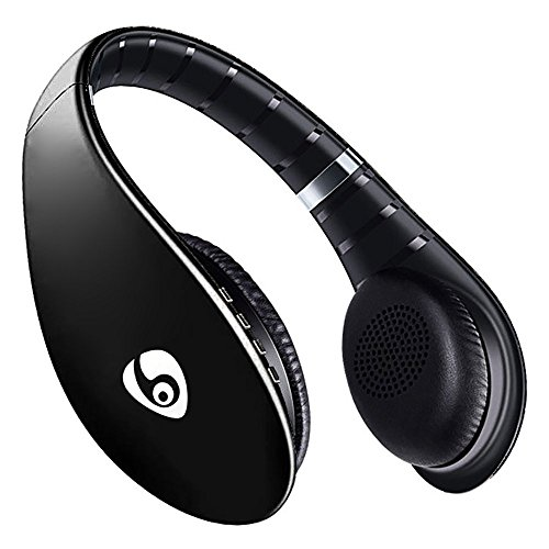 Price comparison product image Labvon Bluetooth Headphones Over Ear Hi-Fi Stereo Wireless Headset Soft Memory-Protein Earmuffs with Built-in Mic for PC/ Cell Phones/ TV