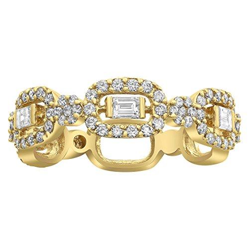Baguette Square Ring - Olivia Paris Certified 14k Yellow Gold Diamond Square Baguette Ring (0.90 cttw, H-I, VS2-SI1) Size 7
