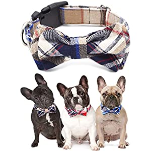 Freezx Dog and Cat Collar with Bow Tie - Adjustable 100% Cotton Design for Big Dog Puppy Cat - Cute Fashion Dog and Cat Collar with Bow Ties - Red,Brown, Blue Plaid Stripe Pattern