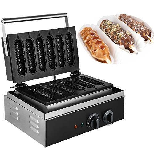 Happybuy 110V Commercial Lolly Waffle Maker 6 Pcs Non-stick Electric Waffle Machine 1500W Well-distribute Heating Sausage Hot Dog Machine Heavy Duty and Stainless Crispy Machine Six Grid Food Process