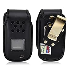 Turtleback Samsung Rugby 4 Flip Phone Fitted Case - Made in USA (Black Leather/Rotating Metal Clip)