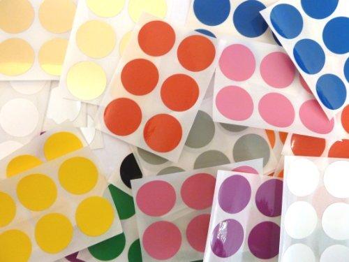 Minilabel 228 Labels , 25mm Diameter Round , Durable Plastic / Vinyl , Mixed Colour Code - Seals Apples Chart