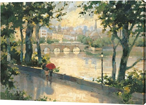 Paris Evening by Marilyn Simandle - 22''x32'' Gallery Wrapped Giclee Canvas Art Print - Ready to Hang by Canvas Art USA