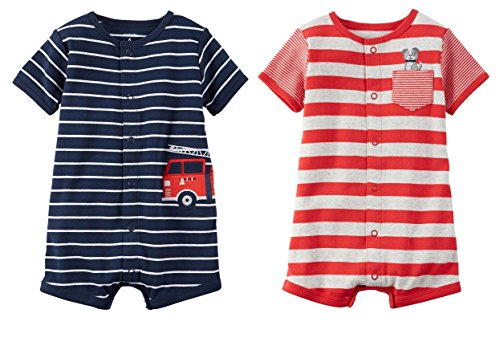 Carters Baby Boys Cotton 1-Piece Snap-Up Romper Set of 2 Creepers (3 Month, Firetruck Rescue)