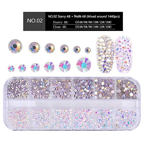 MIOBLET 1440pcs (Starry AB + Nude AB)Shiny Crystals Nail Art Rhinestones Flat-Back Glass Gems Stones Beads for Nails Decoration Crafts Eye Makeup Clothes Shoes Mix SS4 6 8 10 12 16 ()