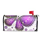 LORVIES Purple Violet Butterfly Magnetic Mailbox Cover Standard Size 20.8 x 18 Inch