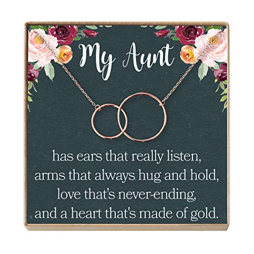 Dear Ava Aunt Necklace: Auntie, Aunt Gift, Aunt Charm, Aunt Jewelry, New Aunt, Best Auntie Ever, My Aunt Loves Me, 2 Interlocking Circles (Rose-Gold-Plated-Brass, NA)