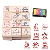Vanki 15 pcs Cute Cartoon Teachers Wooden Stamps, Teachers Encourage Review Stamps,ink pad required