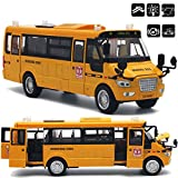 Qiyun Car Toys Large Pull Back Alloy Diecast School Bus with Openable Doors/Lights/Sound as Xmas Gifts