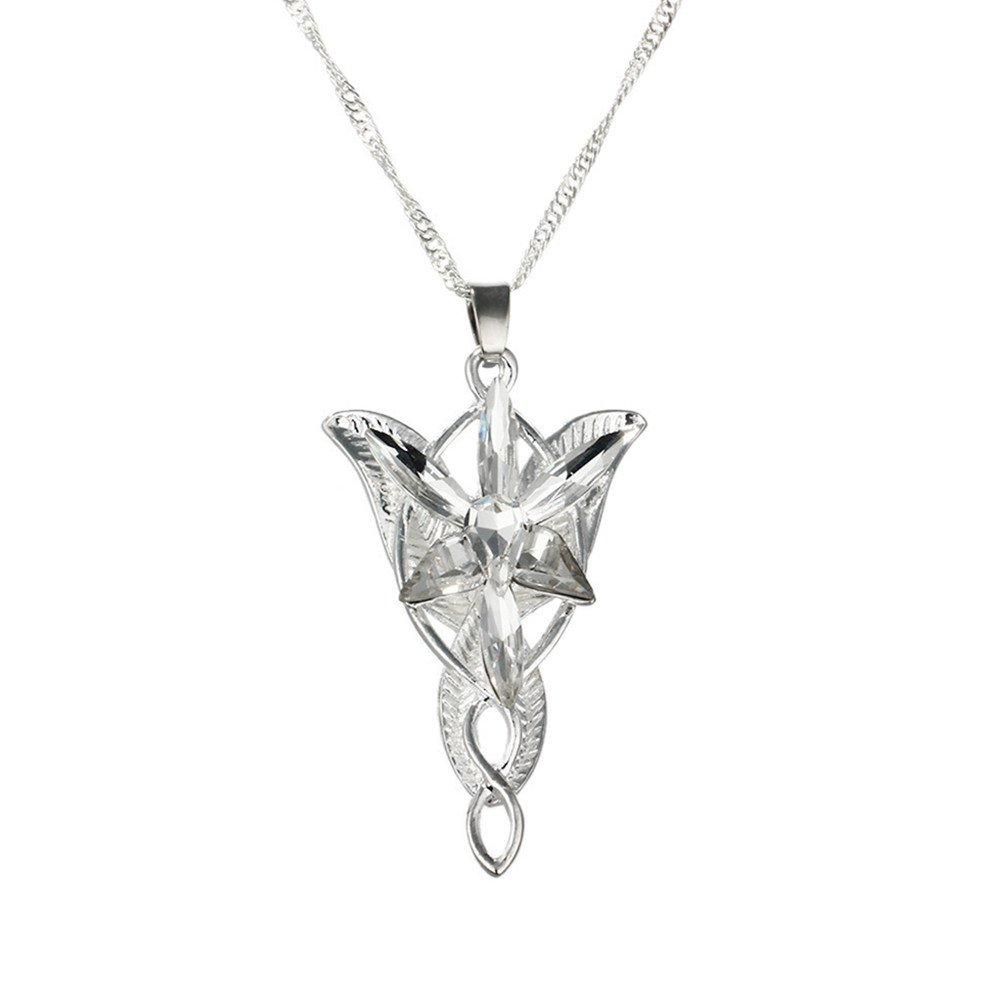 The Lord of the Rings Arwen Evenstar Necklace Movie Jewelry Pendant Crystal Twilight Star Silver Torque Women Statement Necklaces CrafHand 43237-2