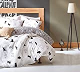 LaModaHome 3 Pcs Luxury Soft Colored Bedroom 65% Cotton Quilt Duvet Cover Set Cat Animal Nature Bad Luck Sweet Cute Spot Love Queen/Full/ Bed
