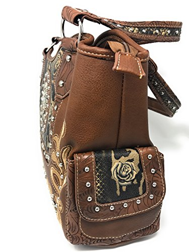 Brown Purse Carry Embroidery Handbag Colors 3 Studded Rhinestone Concealed Flower in Cross Shoulder qOO7w4