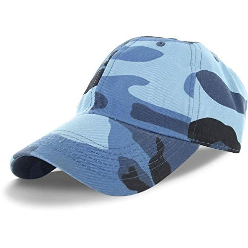 Costume Headgear Retainer (Blue Camo-100% Cotton Adjustable Baseball Cap Hat Style Washed Plain Solid Visor (US)