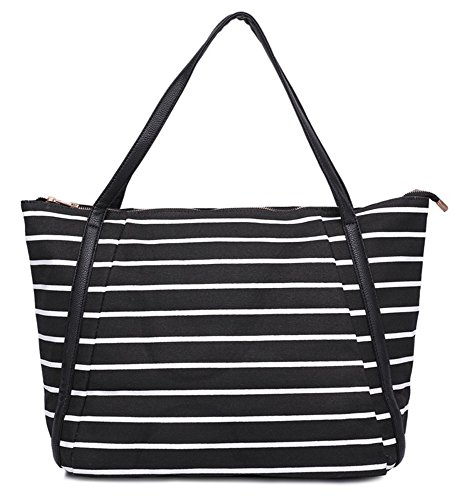 Mn&Sue Summer Vacation Casual Women Large Canvas Stripe Tote Bag (Zip Tote)