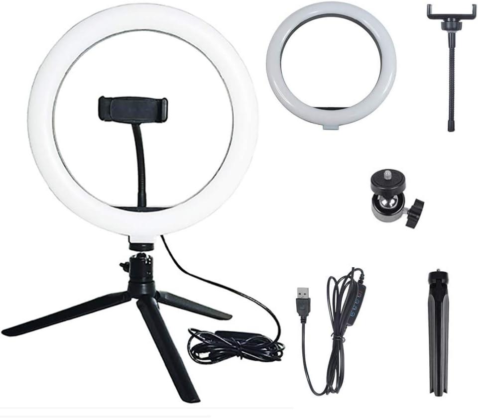 Xgxyklo LED Ring Light Live Streaming,Black Video Chat Dimmable Desktop USB Light On-Camera Light for YouTube Videos Portrait Photography Beauty