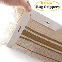 Rug Grippers,8 pcs Langte Anti Curling Carpet Gripper, Double Sided Tapes Premium Anti Slip Rug Pad for Any Kind Rugs and Floors, White Color