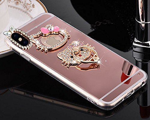Kitty Mirror Luxury Fancy Bling Crystal Rhinestone Diamond Case Hard Cover with Ring Stand Apple iPhone X ~ Estuche Funda (Pink with Hello Kitty Ring) ()