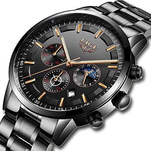 Watches Men Stainless Steel Sport Analog Quartz Watch Men Luxury Brand LIGE Waterproof Date Business Dress Wristwatch Man Black Clock