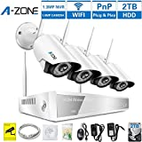 A-ZONE 4CH 960P NVR Wireless CCTV Security Camera System -Four 1280TVL 1.0-Megapixel Weatherproof Wifi IP Surveillance Camera Kit for Home, Office, 80ft IR LED Infrared Night Vision, 2TB HDD